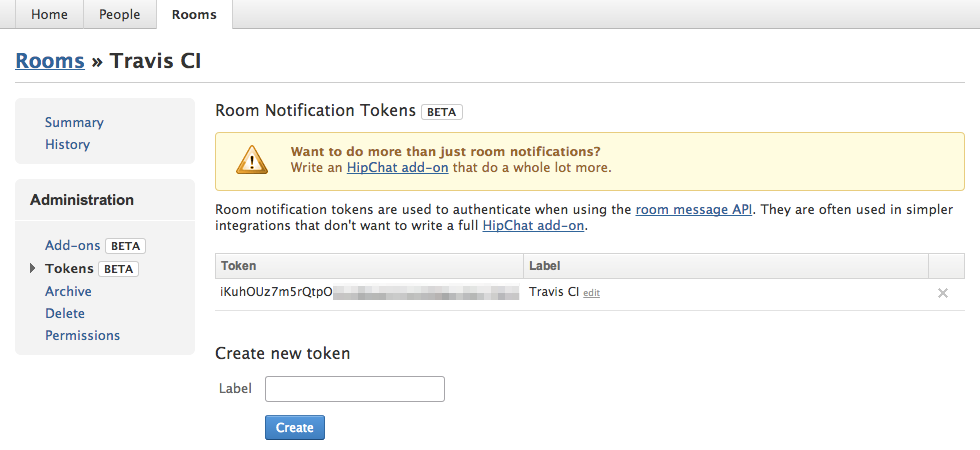 HipChat Room Notification Tokens screenshot